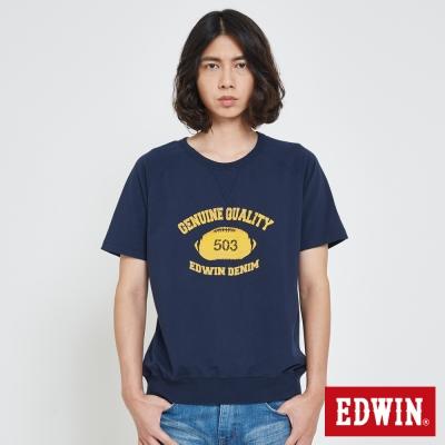 EDWIN 經典大學領印花T恤-男-丈青