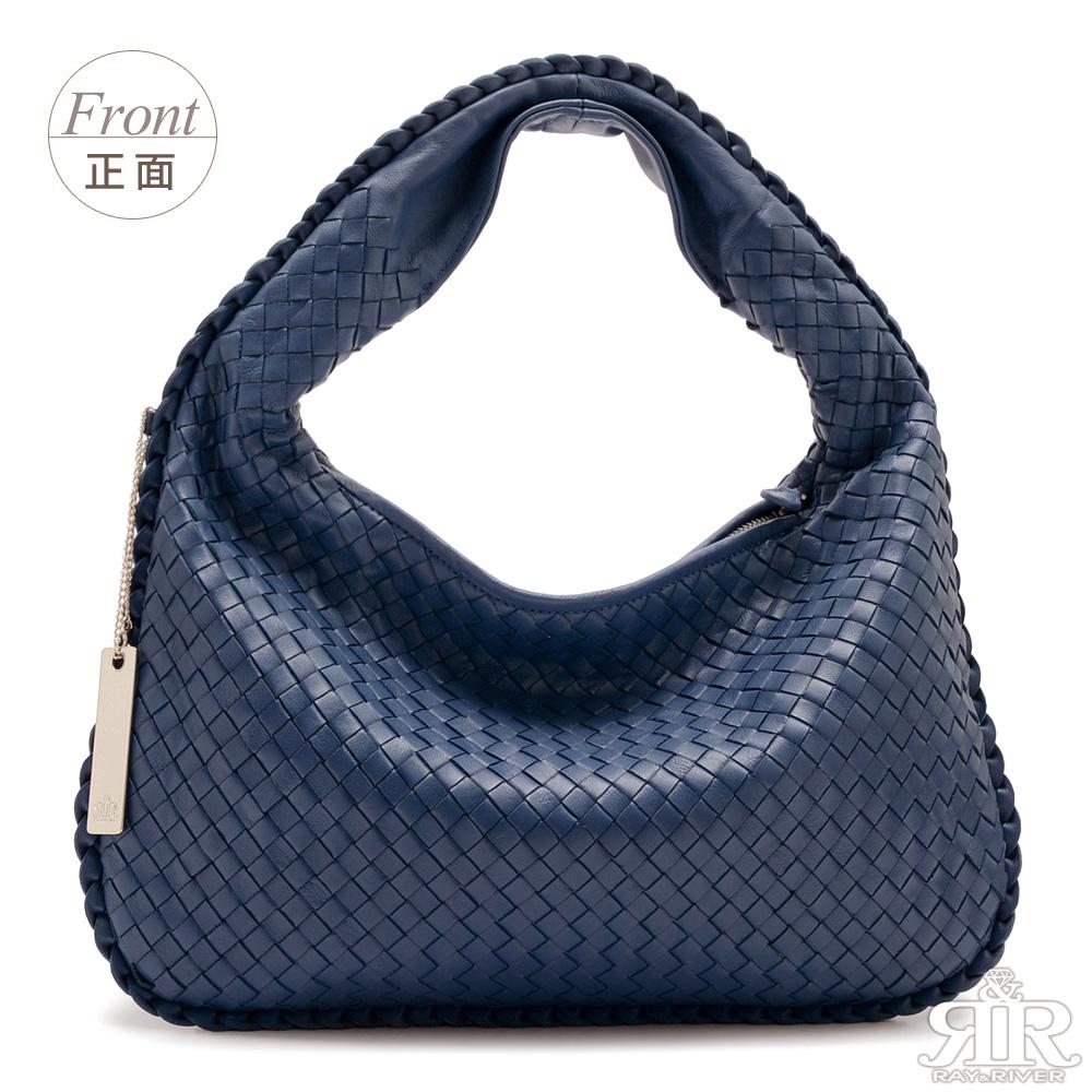【2R】頂級訂製NAPPA羊皮手工梭織彎月包-小版(深寶藍)