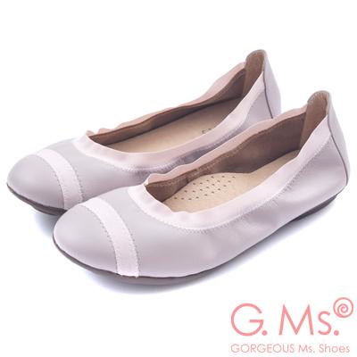 G.Ms. MIT系列-織帶拼接羊皮娃娃鞋-恬淡紫