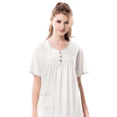 羅絲美睡衣 - 鑽石星星短袖褲裝睡衣 (優雅白)