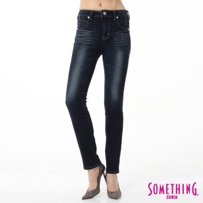 SOMETHING 窄直筒 剪接蕾絲牛仔褲-女-原藍磨