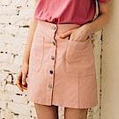CACO-前排釦雙口袋短裙(四色)-女【PSH068】