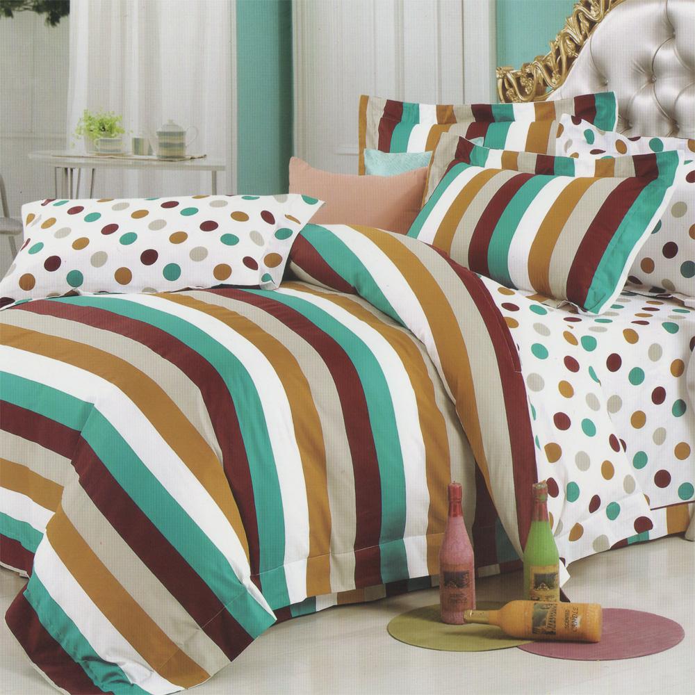羽織美 樂活時尚 加大精梳棉兩用被床包+吸濕排汗被胎 超值組