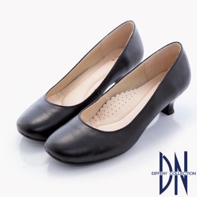DN-職場OL-簡約樸素小圓楦頭低跟鞋-黑