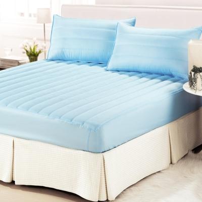 精靈工廠 防潑水粉彩雙人床包式保潔墊-海洋藍