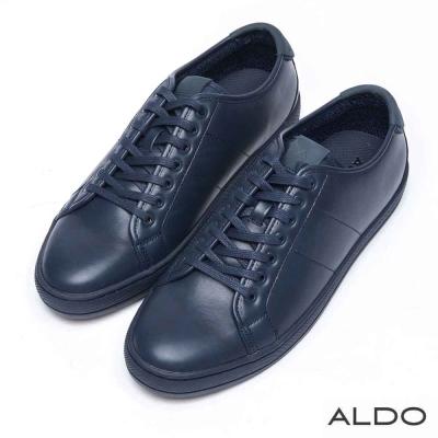 ALDO-原色幾何車線綁帶休閒風男鞋-凜冽深藍