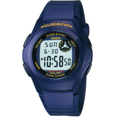 CASIO 超強10年電力數位錶(F-200-2A)-深藍