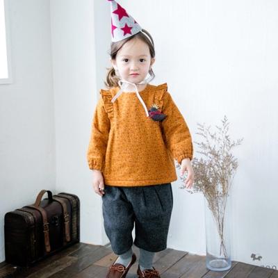BEBEZOO 韓國 小鳥別針咖啡橘碎花荷葉邊長袖上衣