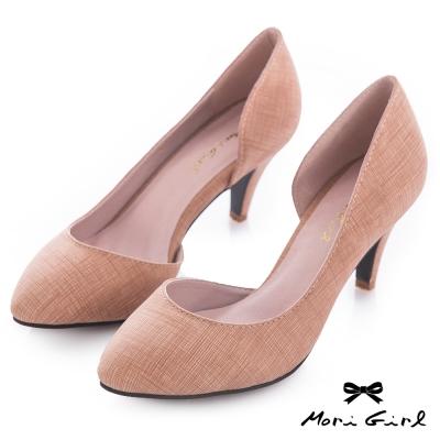 Mori girl知性美感-帶紋路質感高跟鞋 卡其
