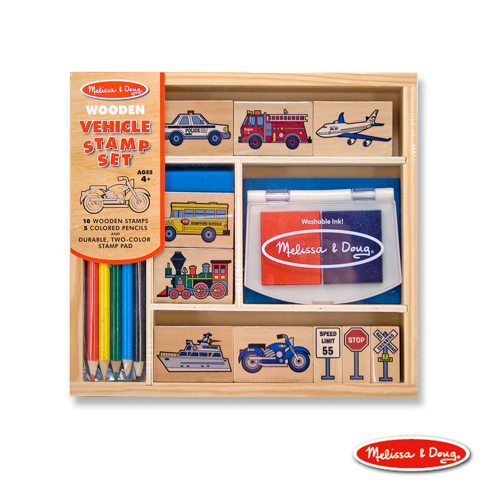 美國瑪莉莎 Melissa & Doug 美勞創意 - 木製印章組 , 交通工具組 16pcs