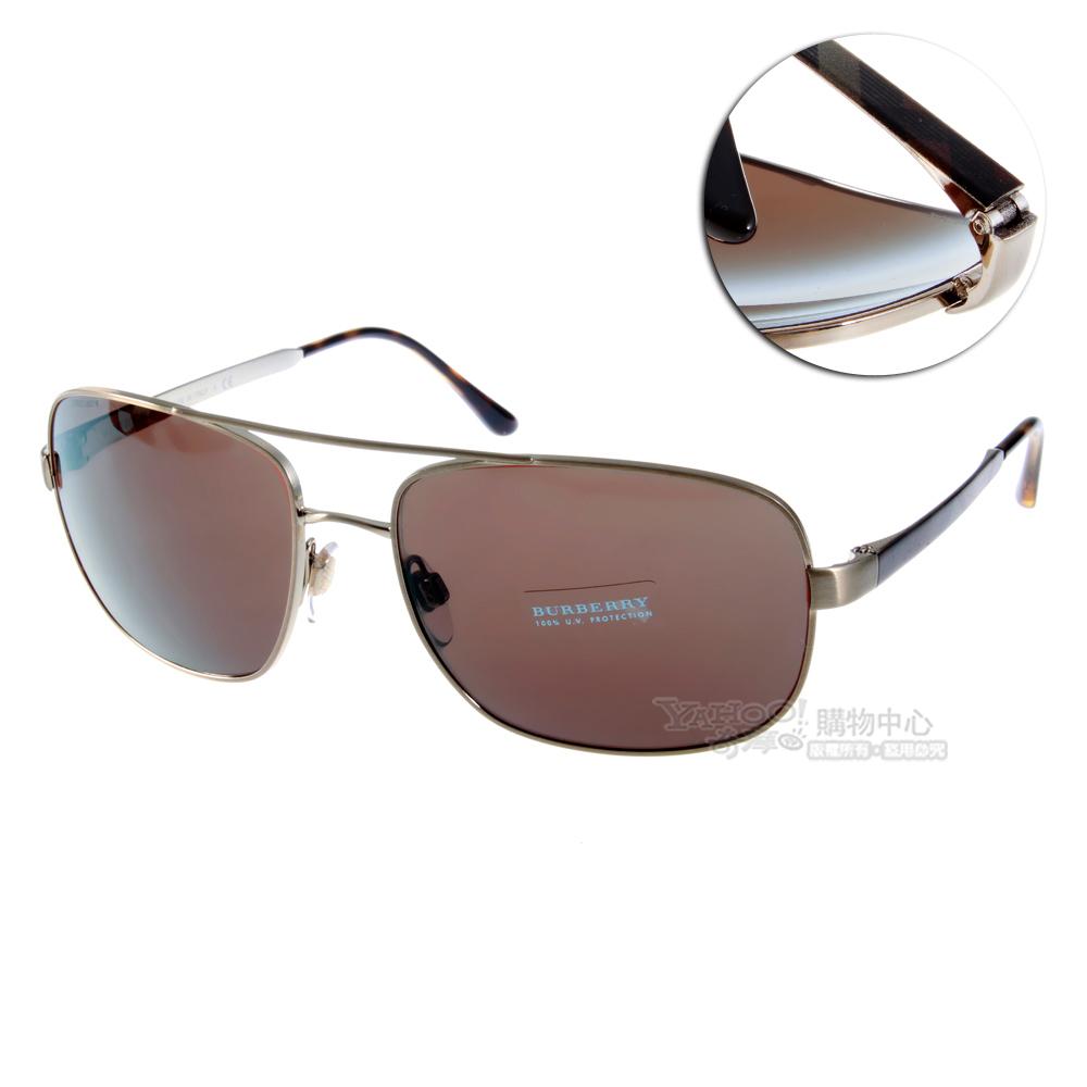 BURBERRY太陽眼鏡 經典飛官款/格紋淡金#BU3064 116773