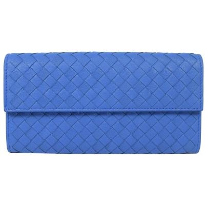 BOTTEGA VENETA小牛皮編織扣式長夾(靛藍)