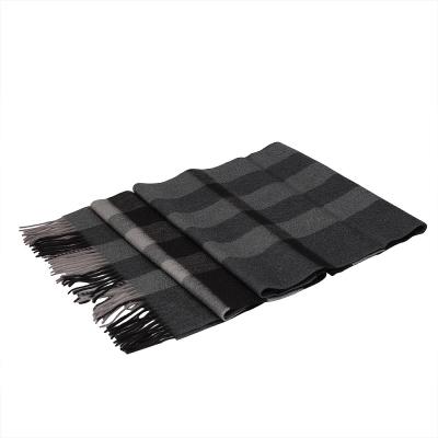 BURBERRY 經典方格紋喀什米爾羊毛披肩/圍巾(200CM-深木炭灰)