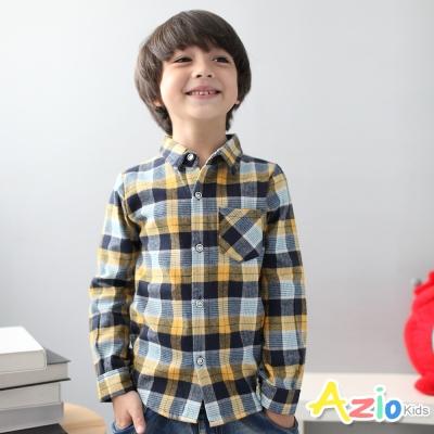 Azio Kids 童裝-襯衫 細線格紋單口袋長袖襯衫(黃)