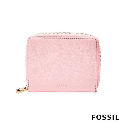 FOSSIL MINI WALLET 真皮多功能拉鍊皮夾 小夾-櫻花粉