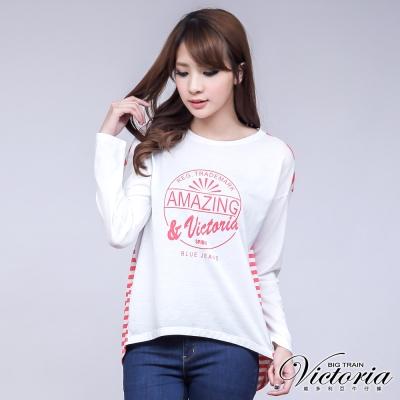 Victoria 印花條紋剪接長袖T-女-粉白條