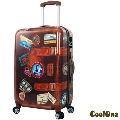 CoolOne 仿復古牛皮 PC 亮面24吋飛機輪旅行箱