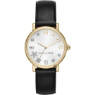 Marc Jacobs MARC字母晶鑽手錶-白x金框/36mm