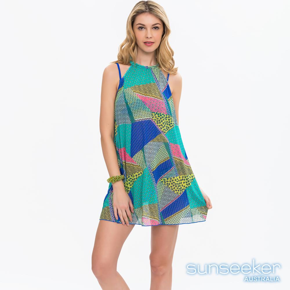 澳洲Sunseeker泳裝時尚波西米亞幾何削肩美背網紗洋裝罩衫