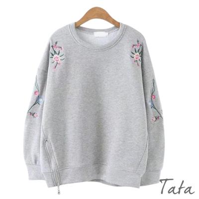刺繡拉鏈下擺薄絨上衣-共三色-TATA
