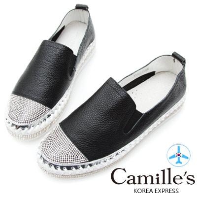 Camille's 韓國空運-正韓製-鑽石厚底懶人鞋-素面款-黑色
