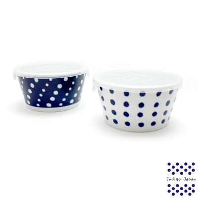 西海輕量波佐見燒2入保鮮盒組-藍丸紋