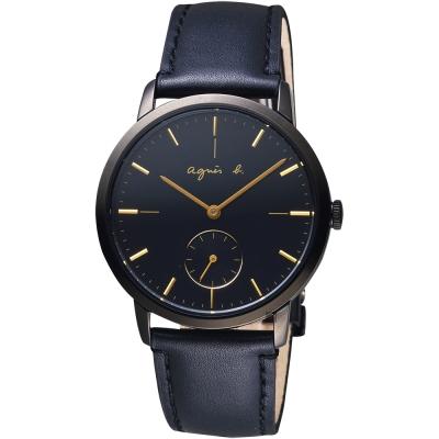 agnes b. 法國時尚小秒針手錶(BN4004X1)-黑/38mm