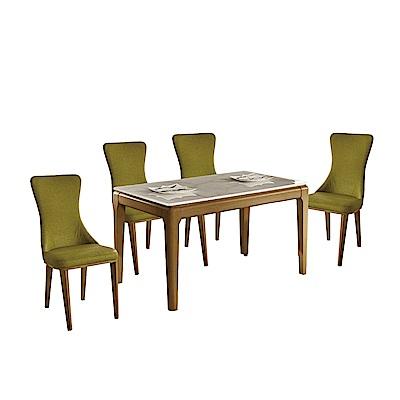 品家居 泰拉絲4.3尺石面餐桌椅組合(一桌四椅)-130x75x75cm免組