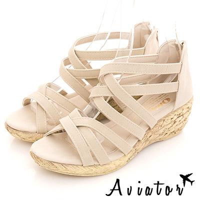 Aviator*韓國空運-正韓製顯瘦交叉編織後拉鍊羅馬楔型厚底涼鞋-米