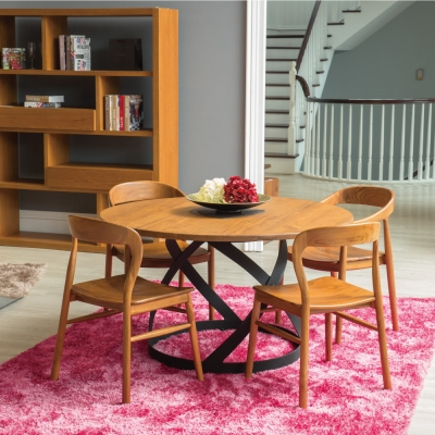 杰諾家居-艾米利亞全柚木實木餐桌-130x130x74cm