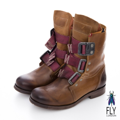 Fly London(女)★BE GOOD! 第一代 個性中筒真皮軍靴- 駱駝棕