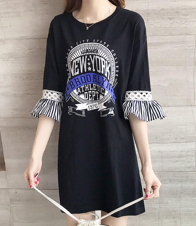 中大尺碼 圓形字母徽章印花鏤空條紋荷葉袖拼接洋裝XL~4L-Ballet Dolly