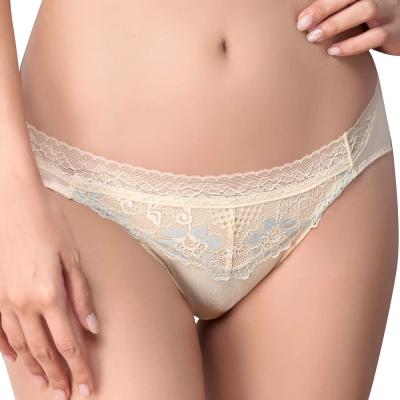 思薇爾 柔挺美學系列M-XXL蕾絲低腰三角內褲(茴香黃)