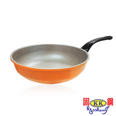固鋼 時尚橘鈦石不沾炒鍋28cm