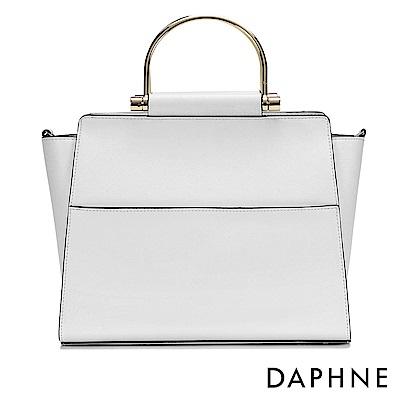 達芙妮DAPHNE-簡約純色金屬手提環兩用包-白