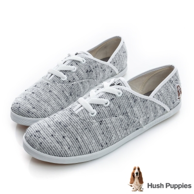 Hush Puppies 可愛花紗咖啡紗帆布鞋-淺灰