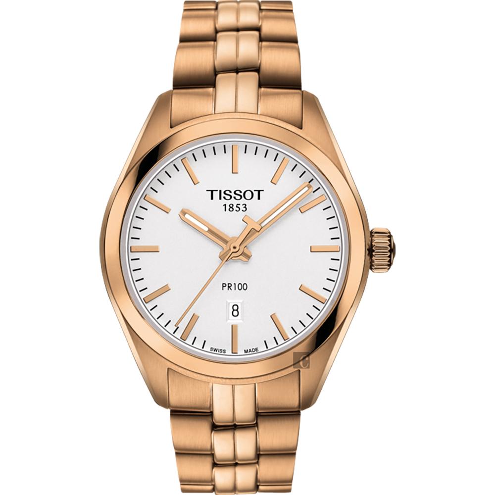 TISSOT天梭 PR100 經典石英女錶-玫瑰金/33mm