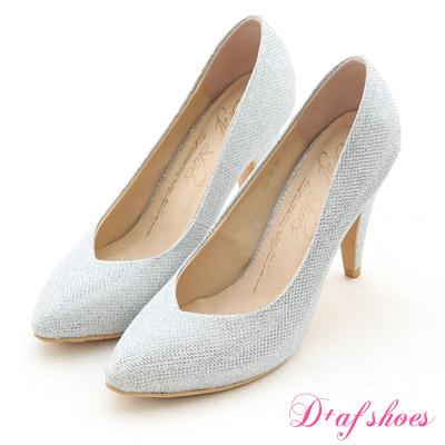 D+AF 星星風潮‧金蔥閃料小V口尖頭高跟鞋*氣質銀白