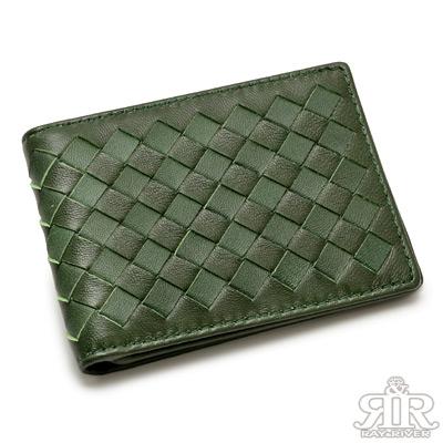 2R-細呢鬆軟-羊皮編織名片信用卡夾-海草綠