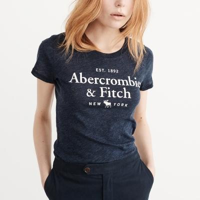A&F 經典文字大麋鹿短袖T恤(女)-深藍色 AF Abercrombie