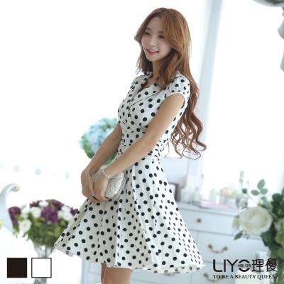 LIYO理優韓系洋裝圓點連身裙洋裝-白
