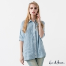 Earl Jean 花紋寬版單寧襯衫-淺藍-女