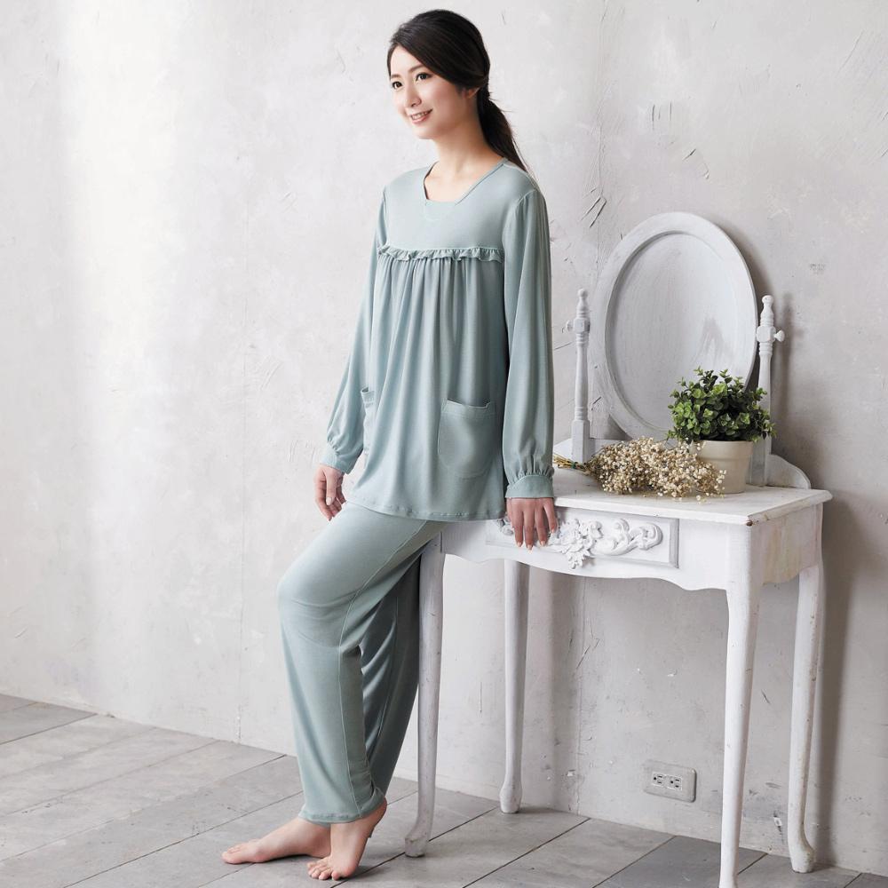 華歌爾 美麗諾羊毛 M-L 長袖圓領褲裝(藍)-睡眠研究所-家居服-舒適保暖