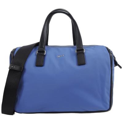 agnes b.素面皮革飾邊兩用波士頓包(藍)
