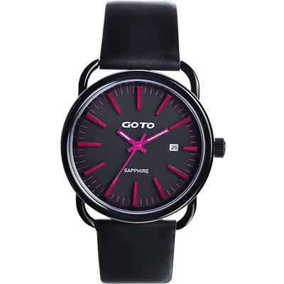 GOTO 幾何極簡日期時尚腕錶-IP黑x桃紅時標/38mm