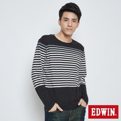 EDWIN 自在休閒條紋長袖T恤-男-黑色