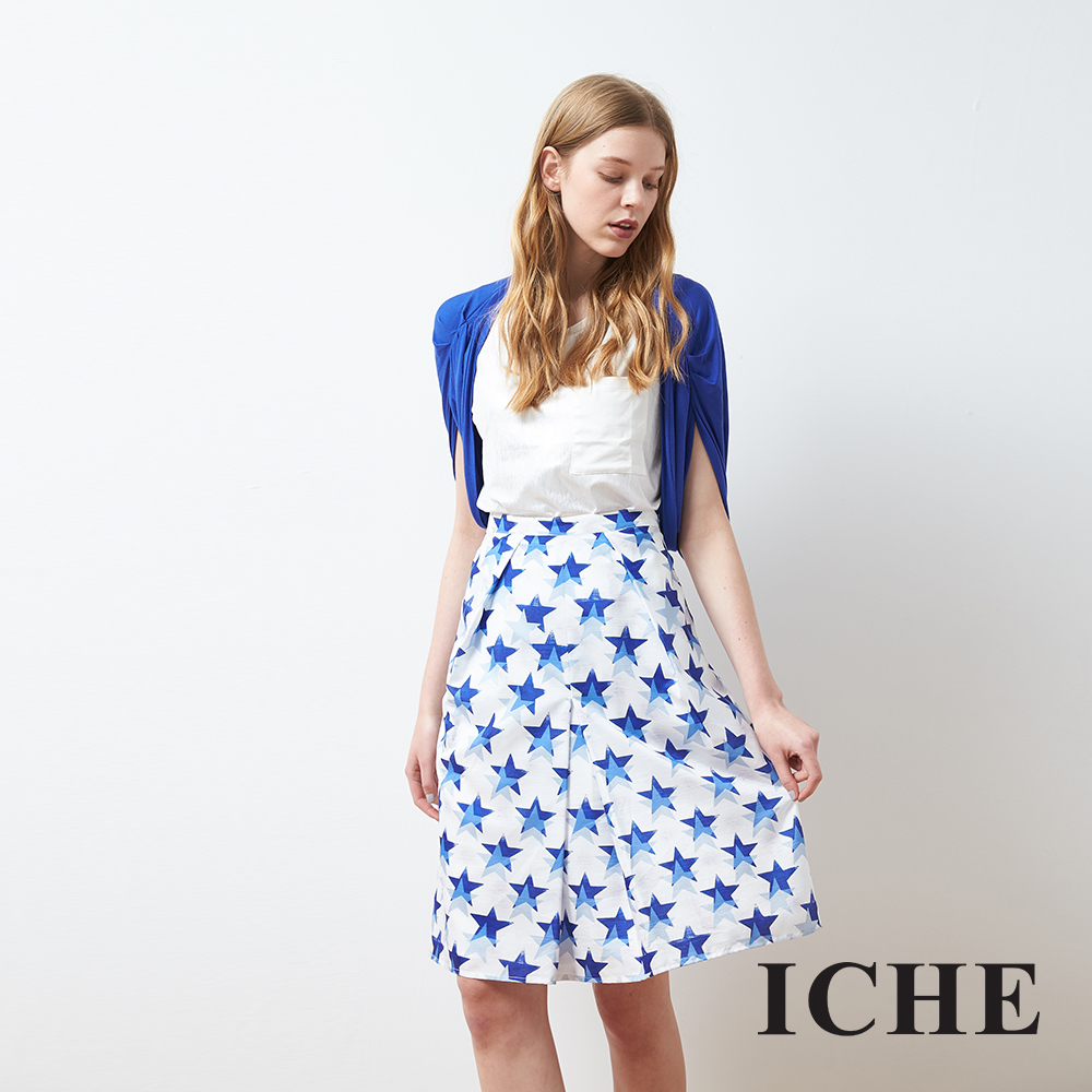 ICHE 衣哲 時尚設計星星印花打摺及膝圓裙