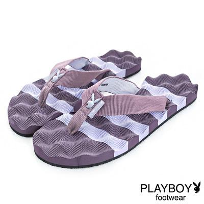 PLAYBOY踏浪青春 條紋布編夾腳拖鞋-紫(女)