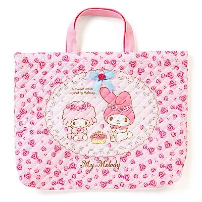Sanrio 美樂蒂日本製布面提袋/補習提袋(玫瑰花園)