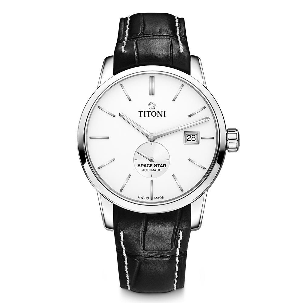 TITONI瑞士梅花錶 天星系列(83638 S-ST-606)-白/皮錶帶/40mm